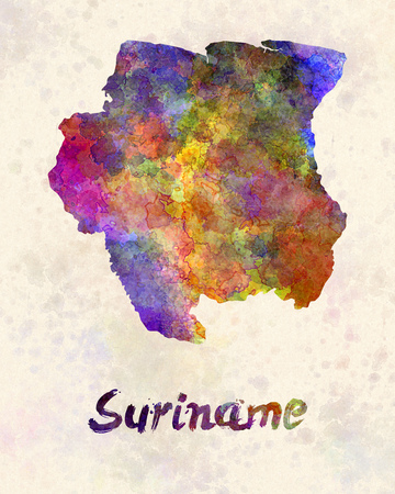 sovereign: Suriname in watercolor Stock Photo