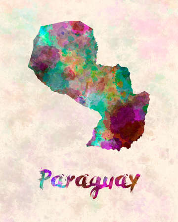landlocked country: Paraguay in watercolor