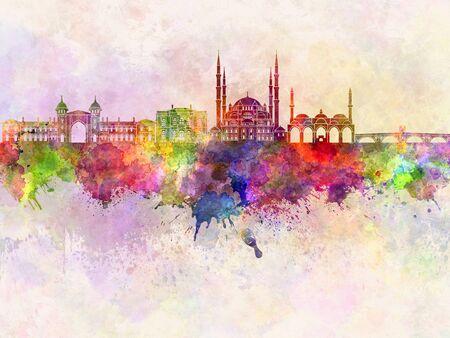 edirne: Edirne skyline in watercolor background Stock Photo