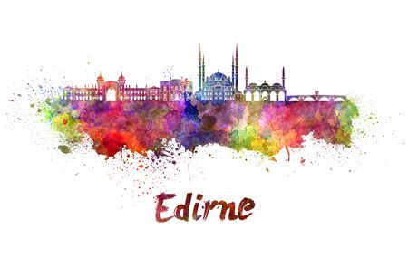 edirne: Edirne skyline in watercolor splatters with clipping path Stock Photo