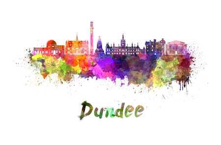 Dundee skyline in watercolor splatters with clipping path