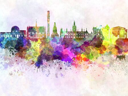 dundee: Dundee skyline in watercolor background Stock Photo