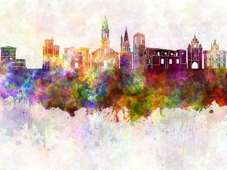 la: La Rochelle skyline in watercolor background