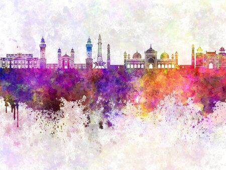 Lahore skyline in watercolor background Imagens