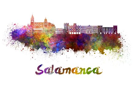 salamanca: Salamanca skyline in watercolor splatters with clipping path