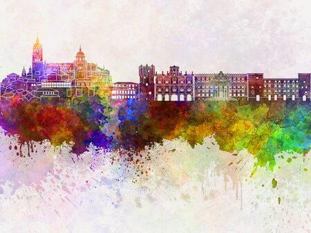Salamanca skyline in watercolor background