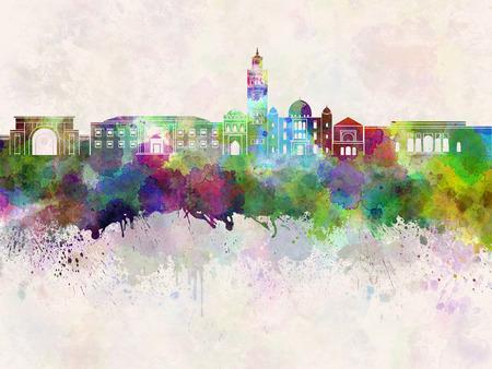 marrakesh: Marrakesh skyline in watercolor background