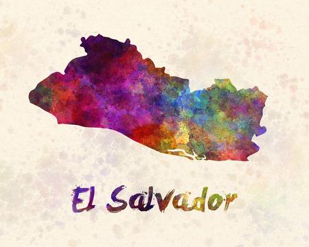 mapa de el salvador: El Salvador en acuarela
