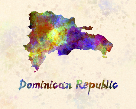 republic dominican: Dominican Republic in watercolor Stock Photo