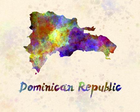 dominican: Dominican Republic in watercolor Stock Photo