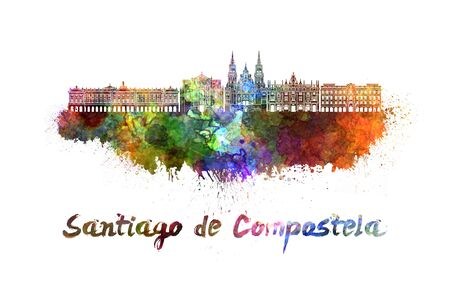 santiago: Santiago de Compostela skyline in watercolor splatters