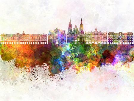 santiago: Santiago de Compostela skyline in watercolor background Stock Photo