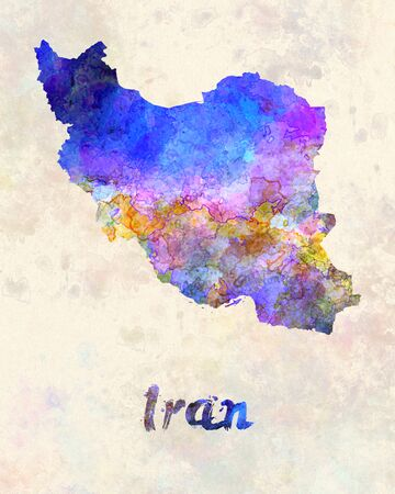 iran: Iran in watercolor Stock Photo