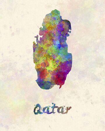 Qatar in watercolor Stock Photo