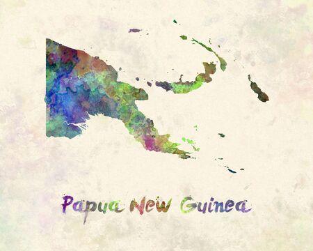 papua: Papua New Guinea in watercolor Stock Photo