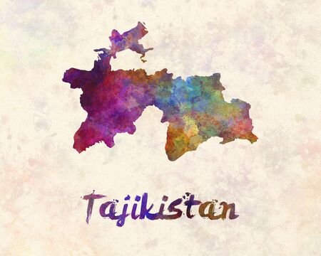 painting on the wall: Tajikistan in watercolor Stock Photo