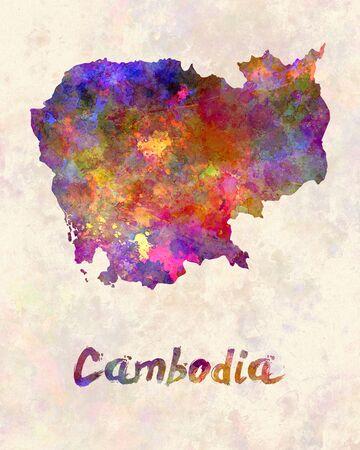 cambodian: Cambodia in watercolor Stock Photo