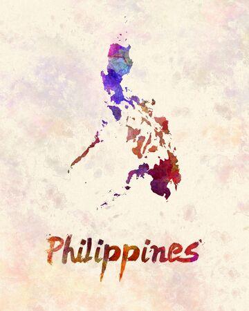 filipino: Philippines  in watercolor
