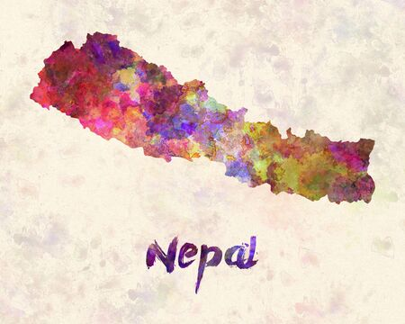 nepal: Nepal in watercolor Stock Photo