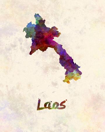 水彩でラオス 写真素材