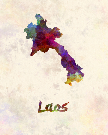 lao: Laos in watercolor