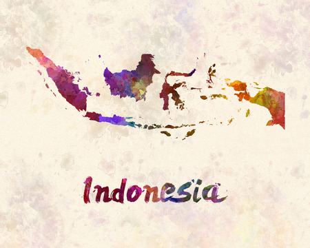 Indonesia in watercolor Standard-Bild