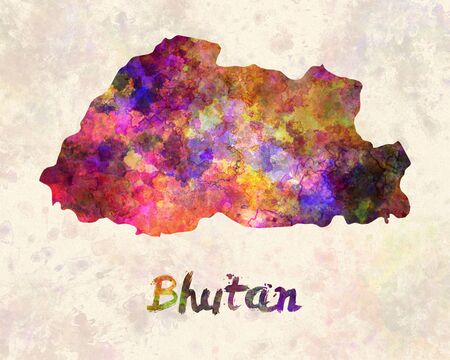 bhutan: Bhutan in watercolor
