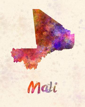 landlocked country: Mali in watercolor