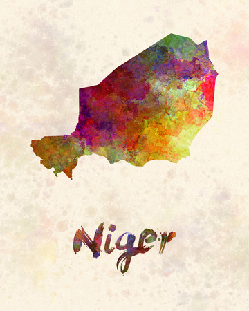 landlocked country: Niger in watercolor
