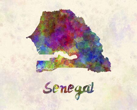 senegal: Senegal in watercolor Stock Photo