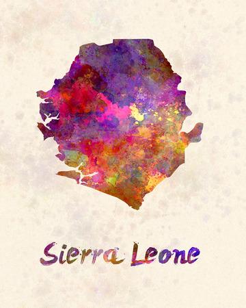 sierra leone: Sierra Leone  in watercolor