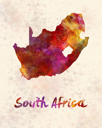 south africa map: South Africa  in watercolor