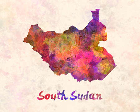 south sudan: South Sudan in watercolor Stock Photo