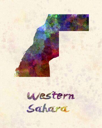 sahara: Western Sahara  in watercolor Stock Photo