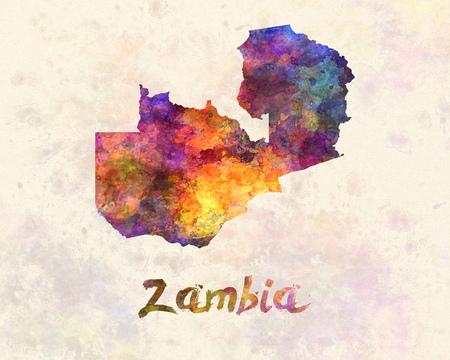 landlocked country: Zambia in watercolor Stock Photo