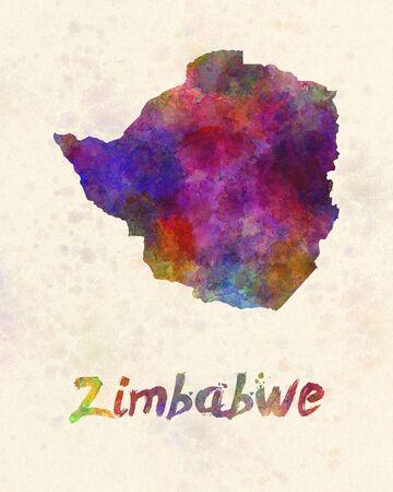 zimbabue: Zimbabwe en acuarela Foto de archivo