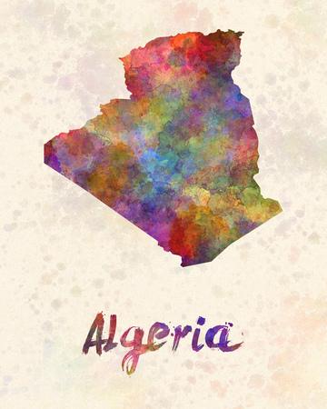 algeria: Algeria in watercolor Stock Photo