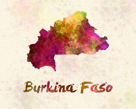 landlocked country: Burkina in watercolor