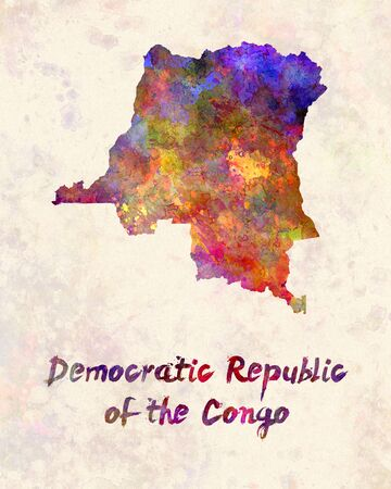 republic of the congo: Democratic Republic of the Congo  in watercolor