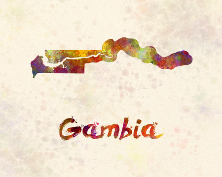 gambia: Gambia  in watercolor