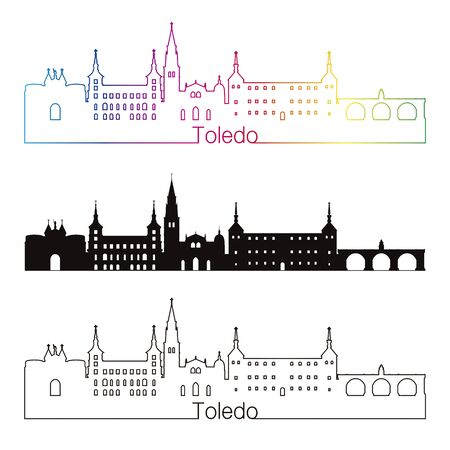 Toledo skyline linear style with rainbow in editable vector file Illustration