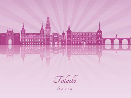 radiant: Toledo skyline in purple radiant orchid in editable vector file Illustration