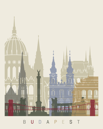 Budapest skyline poster in editable vector file