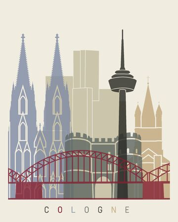 Cologne skyline poster in editable vector file