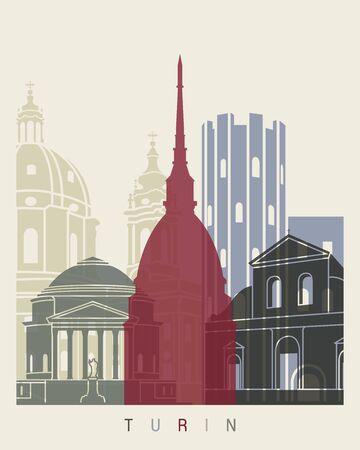 monumento: cartel horizonte de Turín en el archivo editable Vectores