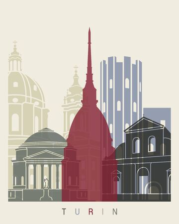 monuments: Turin skyline poster in editable file