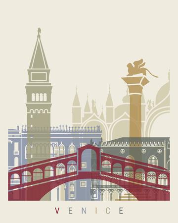 Poster d'horizon de Venise dans un fichier modifiable Banque d'images - 57053854