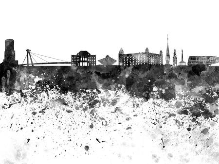paint splash: Bratislava skyline in watercolor on white background Stock Photo