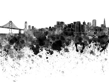 白い背景の水彩画で、サンフランシスコのスカイライン