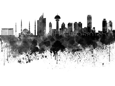 other keywords: Ankara skyline in watercolor on white background